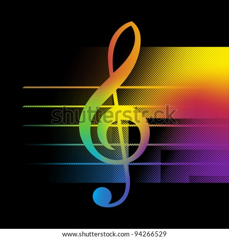 Abstract Music Background With Treble Clef Close-Up Bitmap Illustration - stock photo