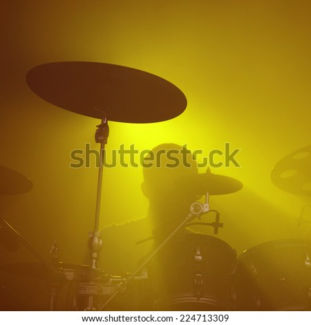 Abstract music concept - Drummer background silhouette - stock photo