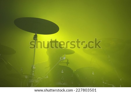 Abstract music concept - Drummer background silhouette