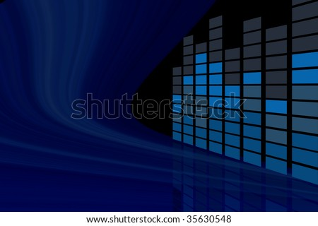 Abstract music equalizer in perspective view - stock photo