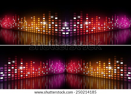 abstract music equalizer multicolor banners for active party events - stock photo