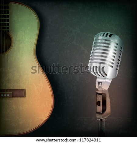 abstract music grunge background with retro microphone and guitar - stock photo