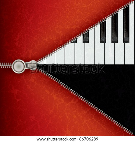 abstract music red background with piano and open zipper - stock photo