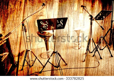 Abstract Music stage or singing background, microphone,chair on wood background made with vintage. - stock photo