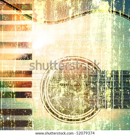abstract musical background acoustic guitar and piano - stock photo