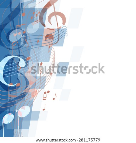 abstract musical background with key and notes, musical signs - stock photo