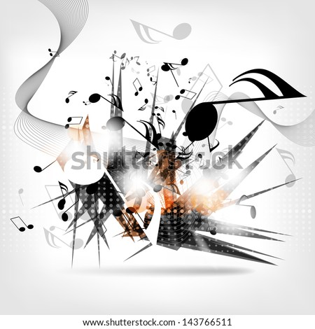 abstract musical background with notes - stock photo