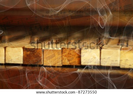 abstract musical background with piano keys and musical notes and smoke - stock photo