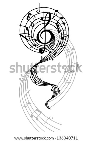 Abstract musical swirl with notes and sounds for art design. Vector version also available in gallery - stock photo