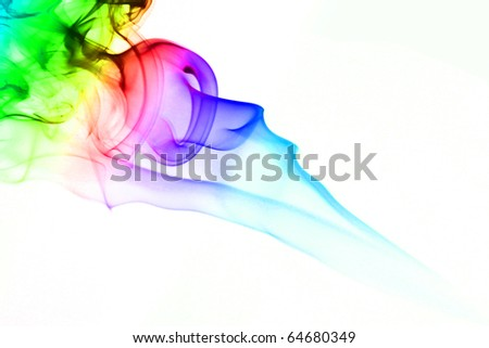 abstract mystical multi colored smoke - stock photo