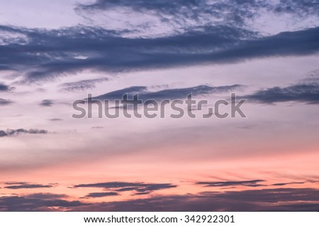 Abstract nature background : An Image of Sunset Clouds, Sunset with beautiful blue sky