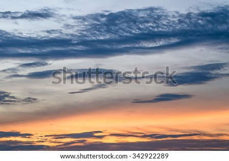 Abstract nature background : Sky, Bright Blue, Orange And Yellow Colors Sunset. Instant Photo, Toned Image