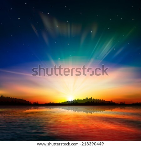abstract nature background with forest lake and red sunrise - stock photo