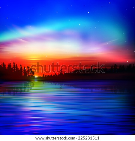 abstract nature background with sunrise and lake forest - stock photo