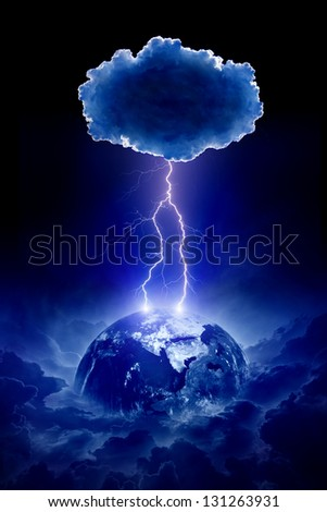 Abstract nature force background - planet Earth struck by lightning from dark night sky. Elements of this image furnished by NASA