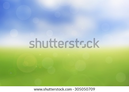 abstract nature green spring with sunlight bokeh background - stock photo