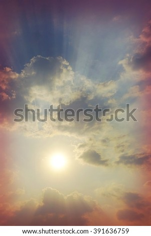 Abstract nature Sun ray light for hope concept - stock photo