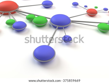 Abstract network circles cell 3D - stock photo