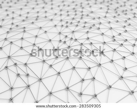 Abstract network connection background - chrome on white - stock photo