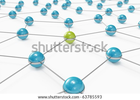 Abstract network made out of balls with green one standing out - stock photo