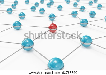 Abstract network made out of balls with red one standing out - stock photo