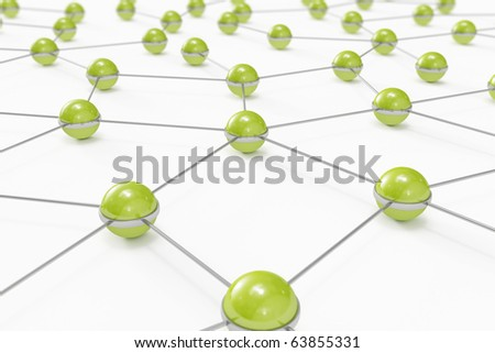 Abstract network made out of connected green balls - stock photo