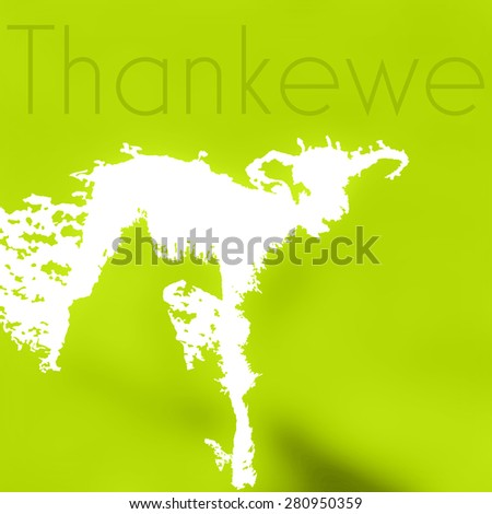 Abstract new Spring Lamb illustration created from negative space on fresh green meadow background with thank you (ewe) text - stock photo