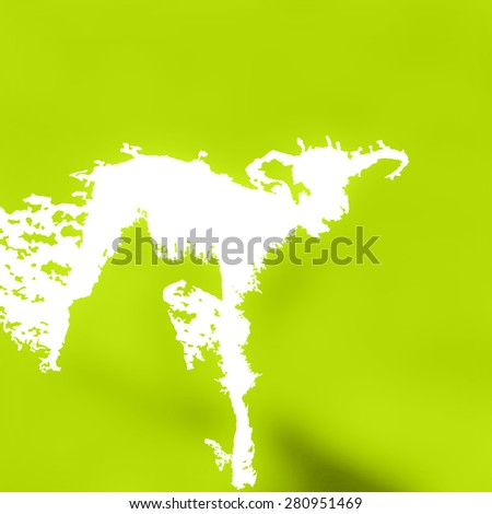 Abstract new Spring Lamb illustration created from negative space on fresh green meadow background.  - stock photo