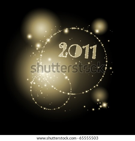 Abstract new year background in golden and black - stock photo