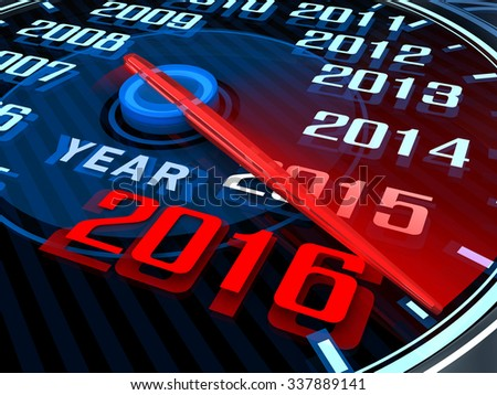 Abstract New year speedometer 2016 (done in 3d)     - stock photo