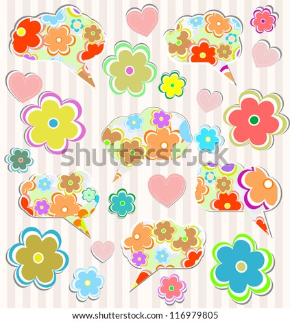Abstract notebook doodles with hearts and flower on lined paper background, raster - stock photo