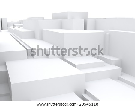Abstract objects of the cubic form with a white surface - stock photo