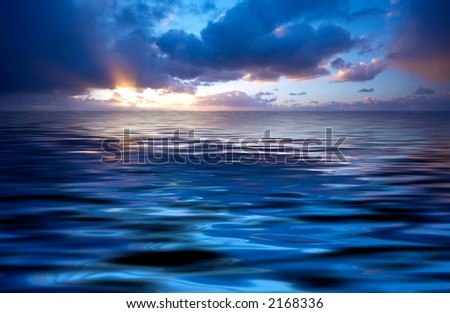 abstract ocean and sunset background - stock photo