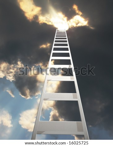 abstract of a ladder extending to a dramatic clouds - stock photo