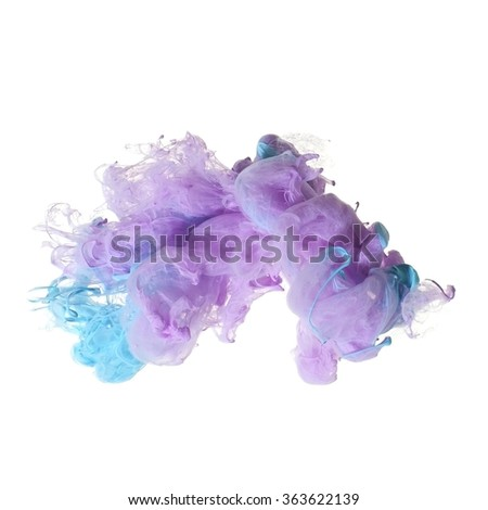 Abstract of acrylic in water. Studio photography on a white background. - stock photo