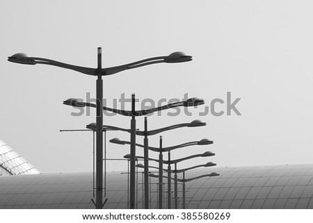abstract of black and white street light - stock photo