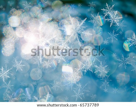 Abstract of Blue Ice under the sun light for Christmas - stock photo