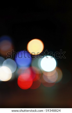 abstract of bokeh on the road - stock photo