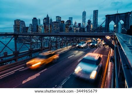 abstract of brooklyn bridge nyc  - stock photo