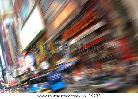 Abstract of busy New York near Times Square - stock photo
