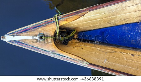 Abstract of canoe bow in a lake shot  from above - stock photo