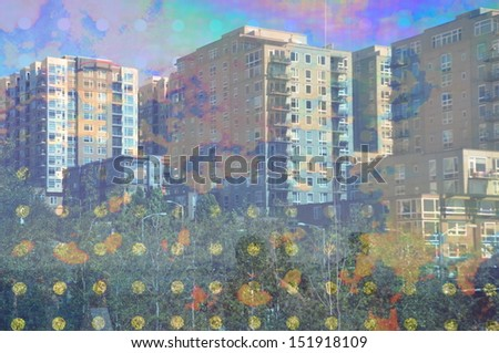 Abstract of city buildings through artistic glass
