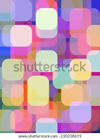 Abstract of city lights after sunset: Varicolored illustration of rounded squares and rectangles overlapping for illusion of three dimensions - stock photo