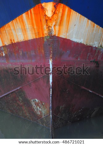 Abstract of colorful ships bow