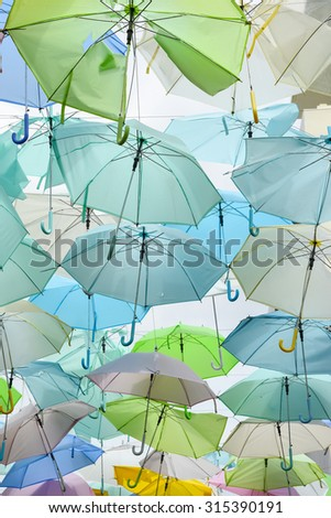 Abstract of colorful umbrellas - stock photo
