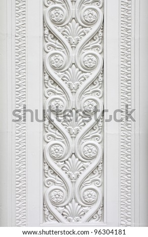 Abstract of Europe style sculpture on wall - stock photo