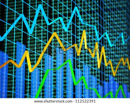 Abstract of financial data featuring line graph, bar graph and random numbers - stock photo