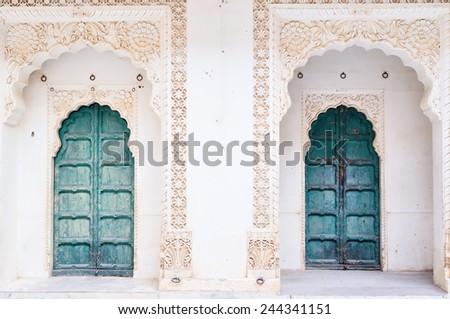 Abstract of  green ancient front door / Green ancient front door - stock photo