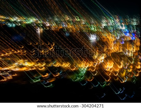 abstract of light trails from camera movement with long exposure