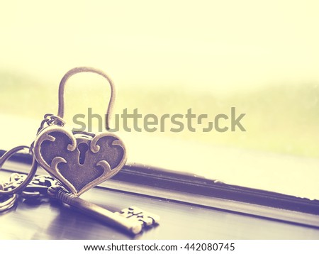 Abstract of love concept of the golden heart love lock and key near glass windows and green garden blur background. Vintage effect. - stock photo